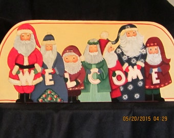 Handpainted Santa Welcome Sign
