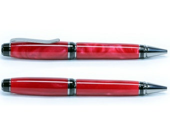 Ruby Red Acrylic on Black Titanium and Black Enamel Cigar Twist Ballpoint Pen