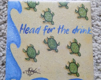 Head for the Drink Ceramic Tile Coasters (set of 4)