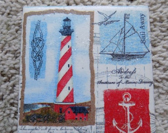 Lighthouse and Nautical Ceramic Tile Coasters (set of 4)