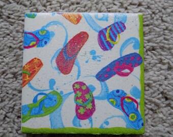 Flip Flop Fiesta Ceramic Tile Coasters (set of 4)