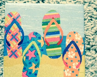 Flip Flops at the Beach Ceramic Tile Coasters (set of 4)