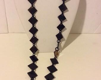 Dark brown buffalo horn long natural link necklace