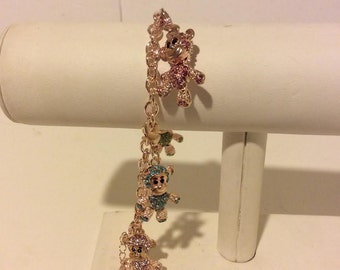 Rose gold colored monkey charm bracelet