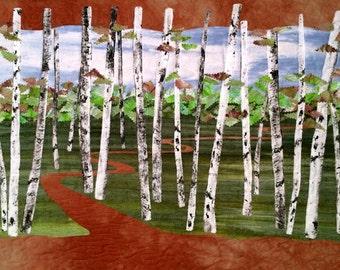 Art Quilt, Original Fiber Art Wallhanging, Hand dyed Fabric, Birch Trees, Forest, Fabric Art