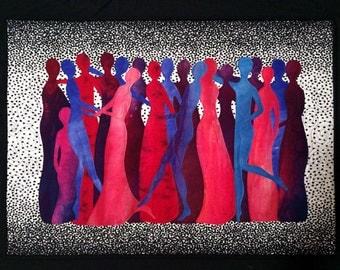 Art Quilt, Original Fiber Art Wall Hanging, Celebration, Hand dyed Fabric, Fabric Art, Dancing, Party, People