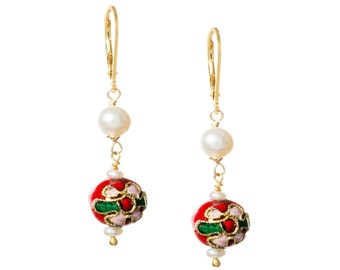 Red Cloisonne and Pearl Drop Earrings