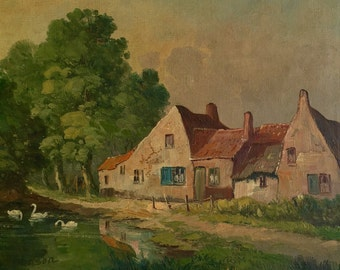 19th century European oil on canvas painting.  A charming European cottage is depicted by a lake with swans // Signed / Art / Collection //