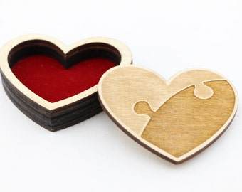 Wedding Rings Box, Ring Bearer Box, Engagement Ring Box, Wooden Heart, Puzzle, Rustic, Handmade, Personalized, For her, Laser Cut, Engraved