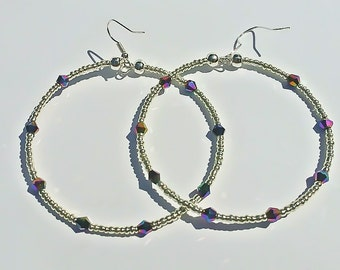 Silver Meteor Large Hoop Earrings
