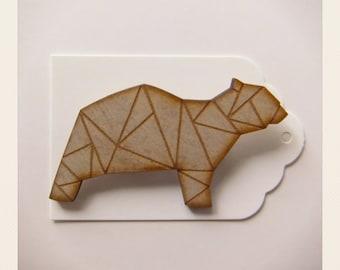 Origami Cubic Polar Bear Brooch