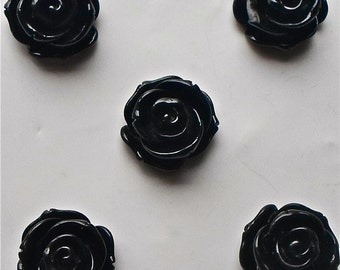 5 x Beautiful Black Colour Acrylic/Resin Rose Flat Flower Cabochons 23mm Flat Back Jewellery / Craft Making / Sewing / Knitting A7