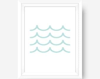 Blue Waves Print, Printable Wall Art, Ocean Print, Digital Prints, Wave Print, Wave Wall Art