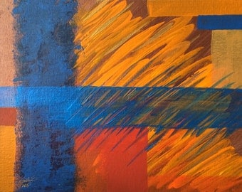 """Blue & orange small abstract painting Bright colors Modern affordable painting Contemporary wall art on canvas panel """"Blue Energy"""" 11x14"""""""