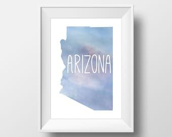Arizona State Blue Watercolor Printable Art, Arizona Print, Arizona Art, Modern Art,
