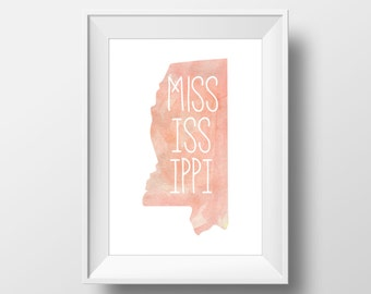 Mississippi State Pink Watercolor Printable Art, Mississippi Print, Mississippi Art, Modern Art,