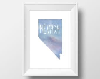 Nevada State Blue Watercolor Printable Art, Nevada Print, Nevada Art, Modern Art,