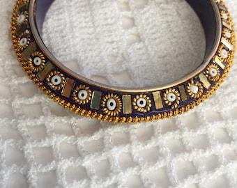 Vintage Bracelet, Handmade in INDIA blue navy and gold bracelet, Bangle Bracelet,