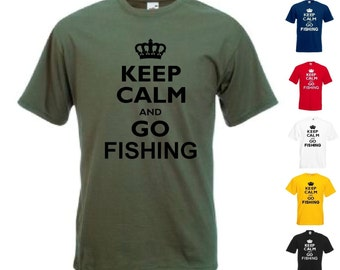 Keep Calm And Go Fishing Mens/Adults Novelty Tshirt - Funny/Joke/Gift/Present