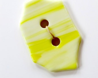 Large yellow fused glass button