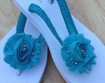 Shabby Chic Chiffon Flower Bridal Flip Flops, Bridesmaid Flip Flops, Bridal Sandals, Beach Wedding Sandals, Wedding Destination Flip Flops