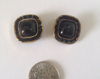 Black and gold square vintage buttons