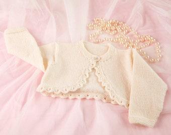 Pdf Knitting Pattern for baby bolero by Angela Turner