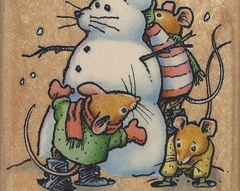 Inkadinkado Town Mouse Snow Play Wood Mounted Rubber Stamp