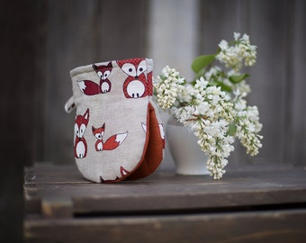 Linen kitchen glove with foxes oven mitt pot holders oven gloves home decor housewarming gift