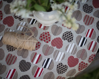 Hearts lovers, Linen kitchen towel, Valentine's day