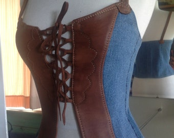 Mahogany Deerskin and Recycled Denim