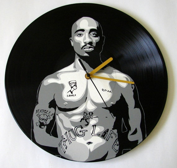 Tupac 2Pac vinyl record clock. Upcycled music by ...