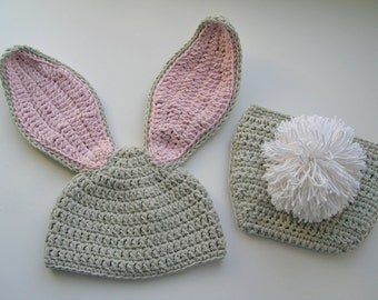 Crochet Bunny Hat and Diaper Cover Set newborn photo prop