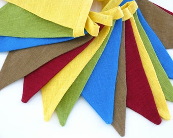 Fabric Flag Banner / Pennant / Bunting / Yellow / Blue / Green / Brown / Beetroot Red