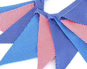 Fabric Flag Banner / Pennant / Bunting / Polka Dot / Striped / Navy / Red / Blue