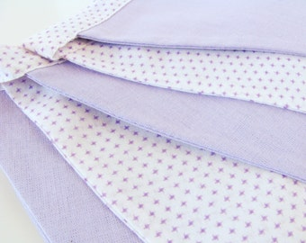 Fabric Flag Banner / Pennant / Bunting / White / Lavender Mist