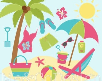 Summer Fun Clipart, Fun Cute Clipart, Swim Suit, Beach Instant Download, Personal and Commercial Use Clipart, Digital Clip Art