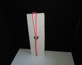 Vintage Hot Pink Western Lariat with Silver Heart and Accents