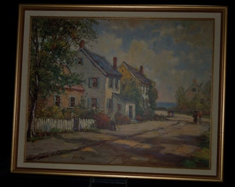 "Vintage 1940s FH McKay Print ""Seacoast Lane"" (Oil Art Reproduction) in Wood and Canvas Frame"