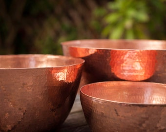 Hammered Copper Nesting Bowls Set of 3
