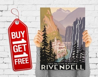 Travel print retro city poster vintage river rocks print, nature travel print retro advertising valley art - Visit Historic Rivendell (1528)
