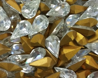Vintage Rhinestones Crystal Pear Glass Teardrop Jewel 13x8mm (4)