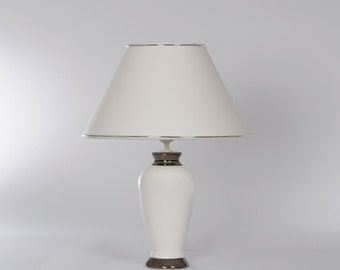 Ceramic table lamp white with Platinum, H. 46 cm
