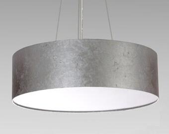 pendent lamp D.50 cm, silver leaf optics