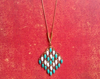 Necklace gilded(bronzed) diamond, sky blue and white
