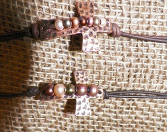 Copper Cross Freshwater Pearl Bracelet