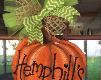 Pumpkin  painted burlap door hanger