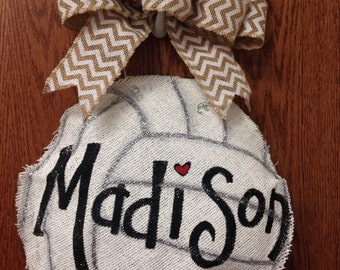 Burlap painted volleyball door hanger