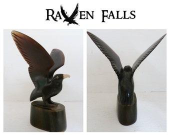 Vintage RESIN BLACKBIRD Ornament - Car Mascot, Paperweight, Raven, Crow, Black Bird, Eagle,