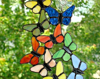 Nine Butterflies in Stained Glass